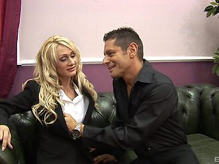 Blonde secretary Cynthia Vellons in stockings gets fucked in the office