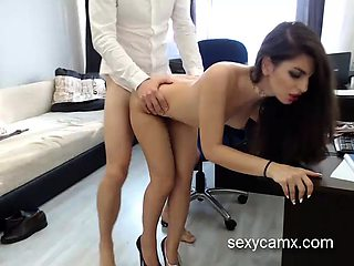 Horny secretary with hot slim body suck and fuck her boss li