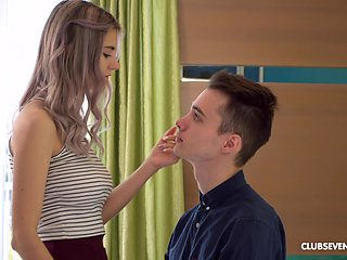 Tiny Teen adores when horny dude cum on her tits after rough sex