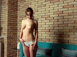 Sexy virgin Maria on casting at defloration new studio