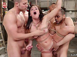 Tied petite slut gets multiple facials