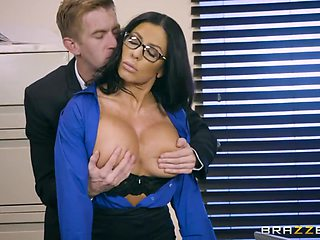 Horn mad curvy secretary Simone Garza is bent over and fucked doggy
