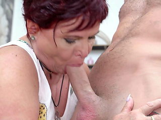 Big granny cheating with young boy