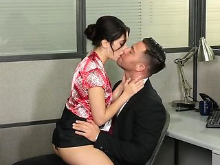 A wonderful young secretary needs to take care of her beautiful boss