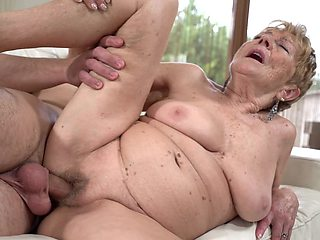 Old woman has a young lover who penetrates her vagina well