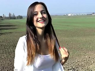 Czech amateur bangs outdoor pov