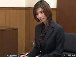 Hot ass secretary Akari Asahina opens her legs to be fucked