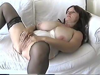 amateur mature Mom huge breasts tease in lingerie