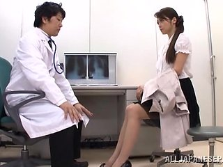 Asian beauty strips for doctor and gets laid