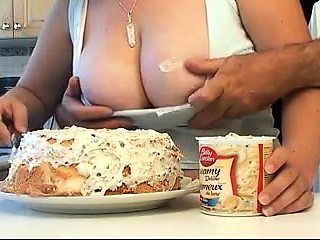 Big breasted amateur housewife sucks and strokes a meat pole