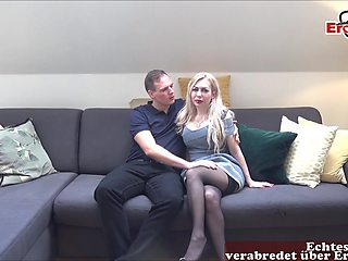 German blonde milf in catsuit have casting