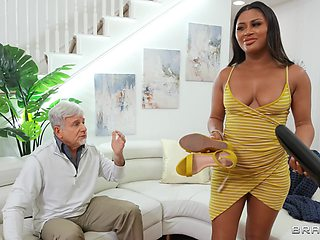 Nude Latina gets senior man to fuck and come in her