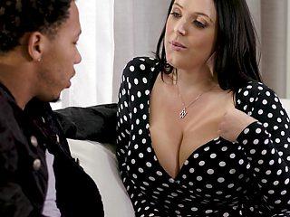 Black stepson can't resist fucking impressive big white boobs of Angela White