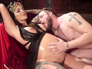 Prego slut plays dominant with her man in a kinky scene