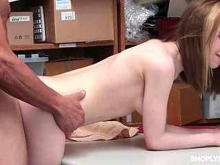 Video From A Hidden Camera. Young Thief Gets Punished On Store Stock