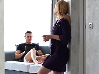 Tempting blonde Renato is taking a shower before making love with her BF