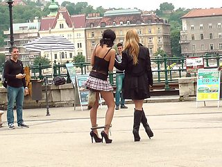 Nikki Thorne forced to have a buttplug in her during public humiliation