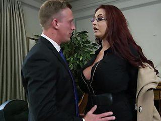 Luke Hardy nails busty Emma Butt and Alessandra Jane in office