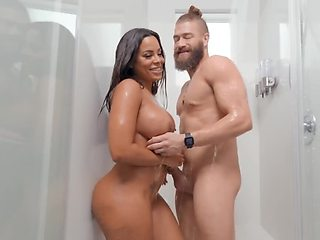 Bearded stud copulates with busty Latina star all over mansion