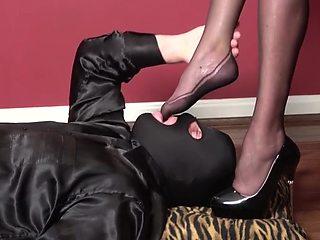 Pvc black mini dress, high heels, nylons, blowjob, fuck
