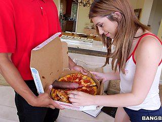 Black pizza delivery man fucks skinny brunette cutie Joseline Kelly