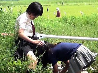 Urinating asian teenagers followed
