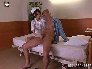Slender Japanese nurse rides a huge boner cowgirl pose after giving a blowjob