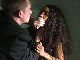 White dude fucks black crucified and tied up girlfriend Demi Sutra