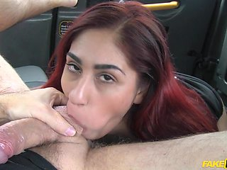 Squirting redhead girl Sahara Knite gets fucked in the back of car