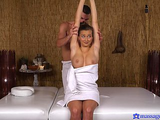 Slim babe with nice tits, hot massage with porn combined