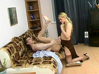 Mistress fucks boy strapon