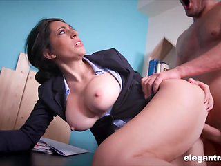Secretary Eloa Lombard with big fake boobs rides a big pecker