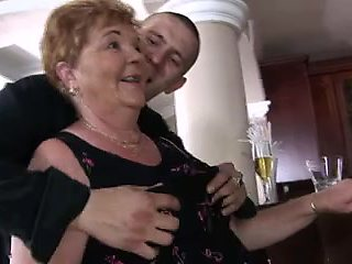 Excited grannies fuck at the bar