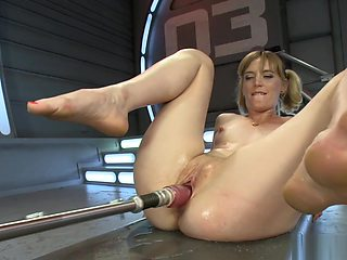 Shaved cunt solo blonde fucks machine