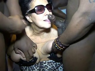 Massive titted granny bubbles bukake blows a gang