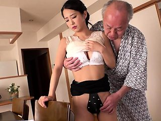 Horny old man has fun with a busty housewife in the shower