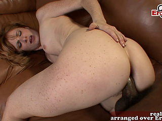 British redhead milf with freckles gets a deep anal creampie