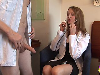 Skinny man gets his dick stroked by naughty doctor Rose Wood