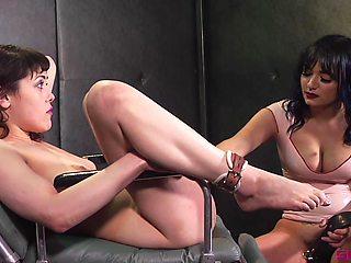 Lewd Caucasian MILF Audrey Noir deserves hardcore lesbian BDSM workout