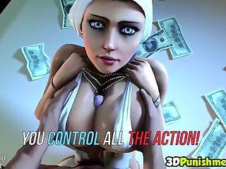 3d ebony futanari wanking off her stiff long dick
