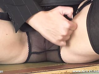 Sexy secretary strips off panties and fingers pussy in black nylons and designer heels