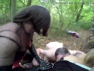 Humiliated outdoor sucking cock and old pussy