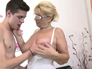 Old blonde mom and her lover
