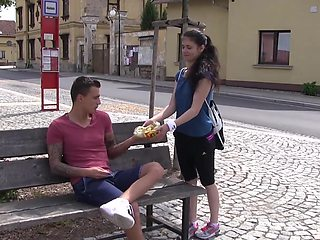 Nice outdoors fucking in doggystyle and missionary with a cute chick