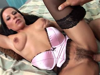 Brunette with giant melons loves giving deep throat job