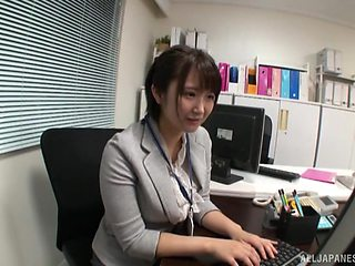 Horny Japanese secretary gets wild with her colleague at the office