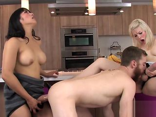 Teens shag boyfriends anus with huge strapon dildos and squirt jism