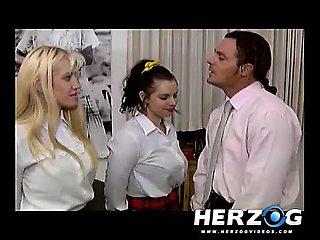Hot retro schoolgirls are pleasured by the teacher