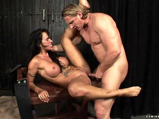 With juicy knockers has fire in her eyes as she gets her mouth fucked by her bang buddy