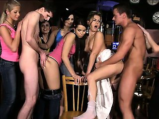 Crazy CFNM bachelorette party in Prague club gone out of